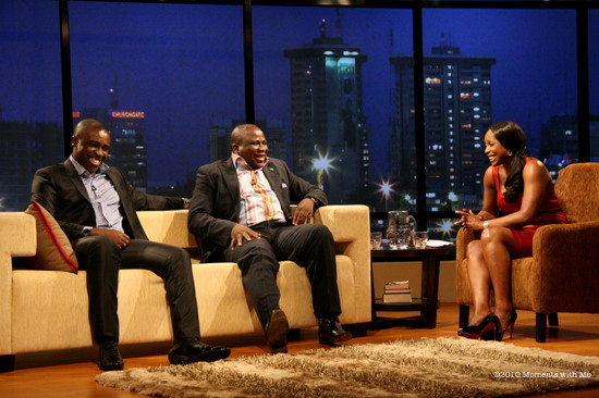 Frank Edoho and Gbenga Adeyinka with Mo Abudu on Moments with Mo