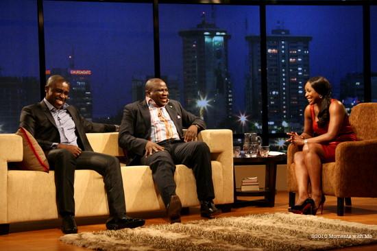 Frank Edoho and Gbenga Adeyinka with Mo Abudu on Moments with Mo